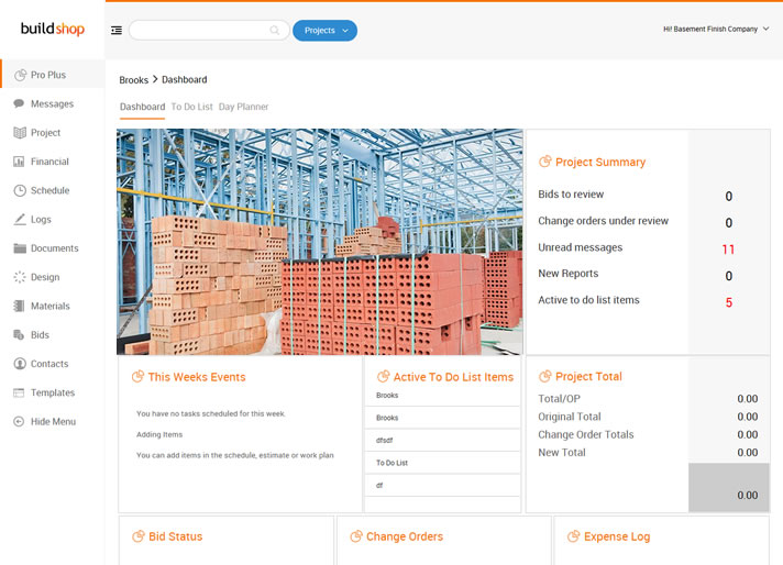 Dashboard for Commercial Contractor Software