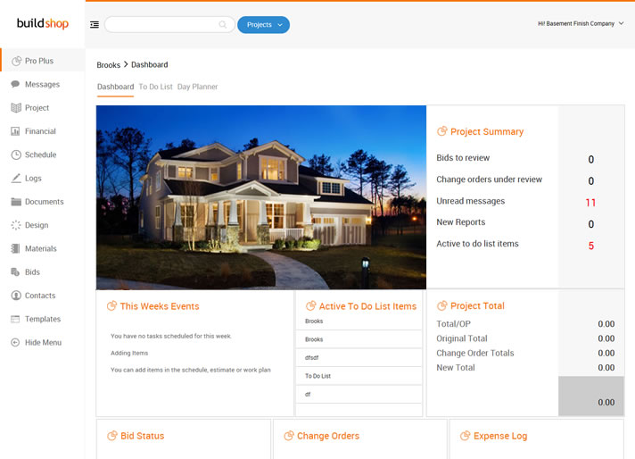 Dashboard for Home Builder Software