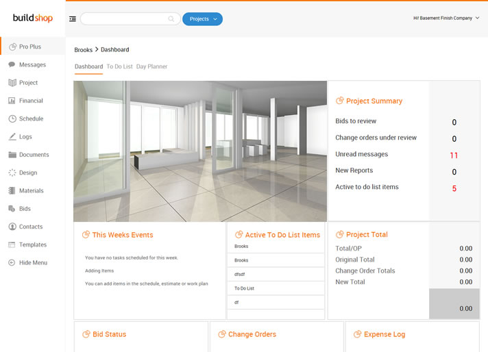 Dashboard for Remodeling Software