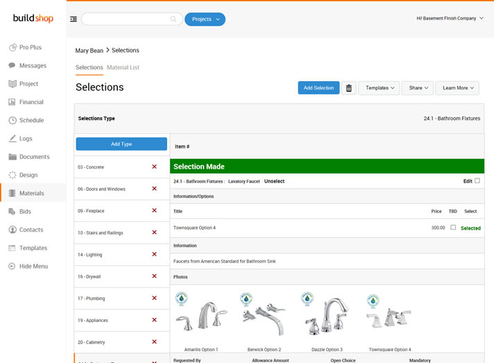 Selection Software for Commercial Contractors